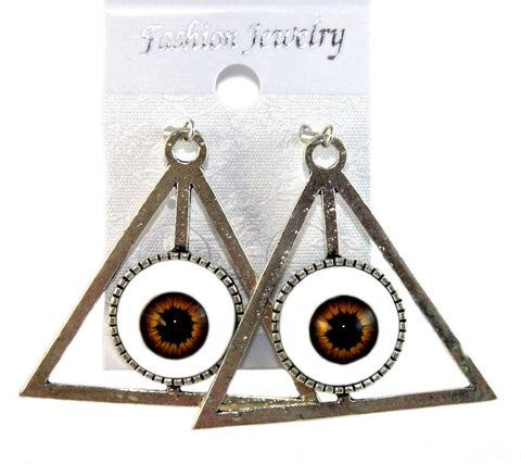 """Pyramid Eye"" Earrings Colour Brown"