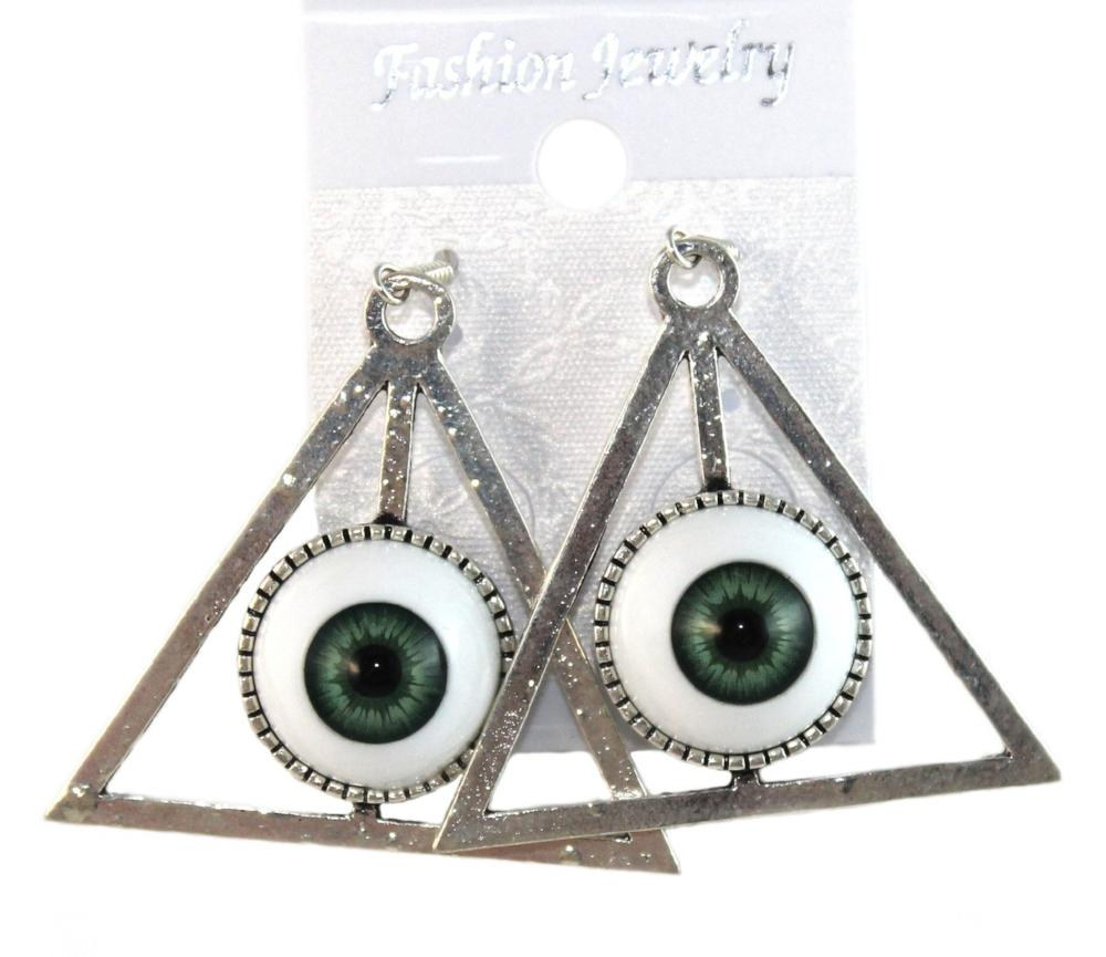"""Pyramid Eye"" Earrings Colour Green"