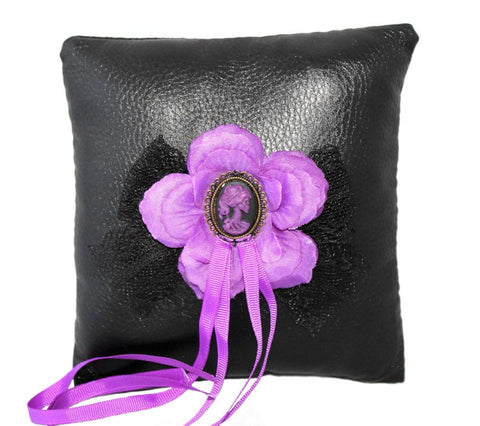 """Purple Dead Lady"" Gothic Wedding Ring Pillow"