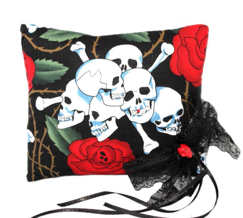 Gothic Wedding Skulls, Bones & Roses Ring Pillow