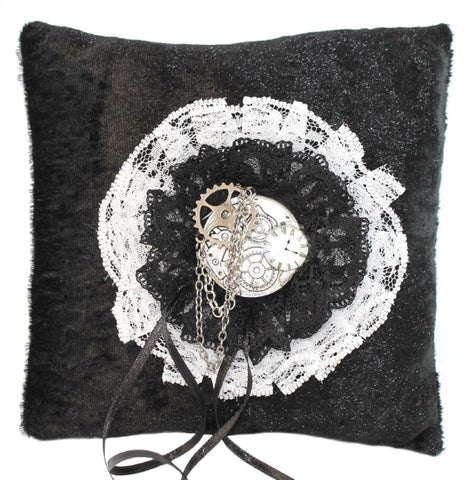 Steampunk Wedding Clock Ring Pillow