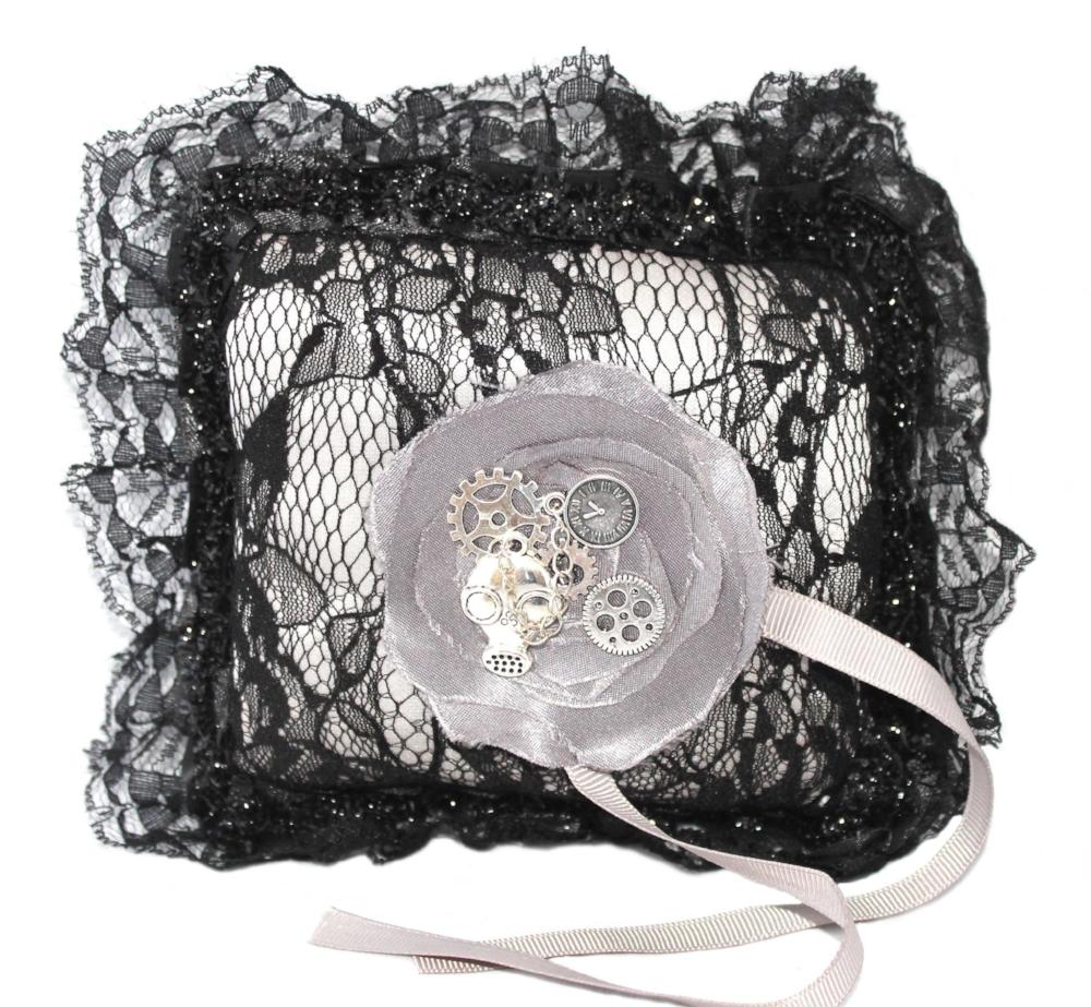 Grey Steampunk Wedding Ring Pillow