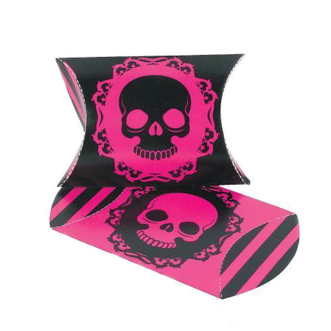 Mini Pink & Black Skull Pillow Favour Boxes - pack of 12