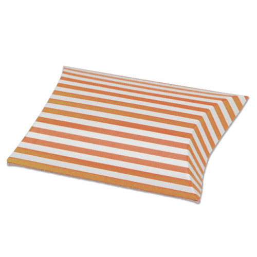 Striped Paper Pillow Favour Box - pack of 12 Orange