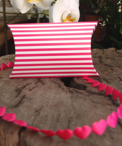 Striped Paper Pillow Favour Box - pack of 12 Pink