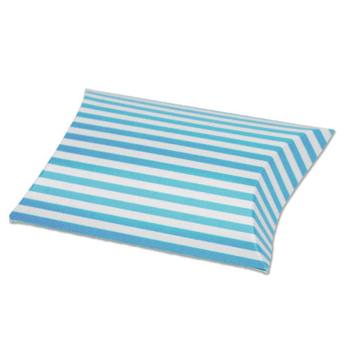 Striped Paper Pillow Favour Box - pack of 12 Blue