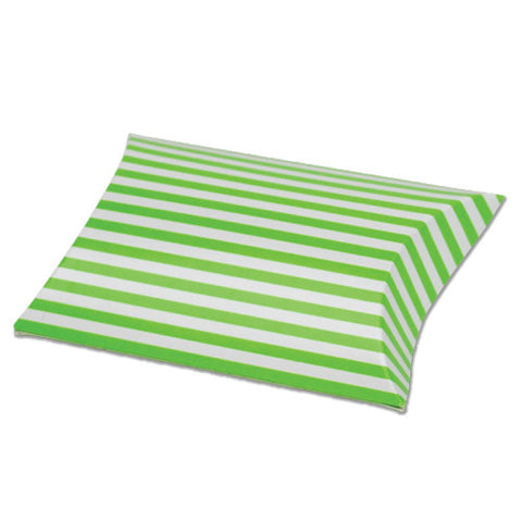 Striped Paper Pillow Favour Box - pack of 12 Green