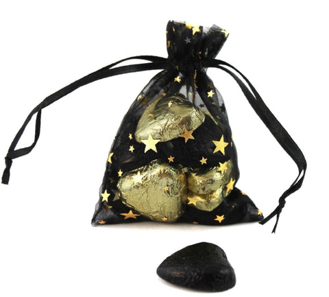 Hollywood Wedding Organza Favour Bags - pack of 12 Gold Metallic Star Print