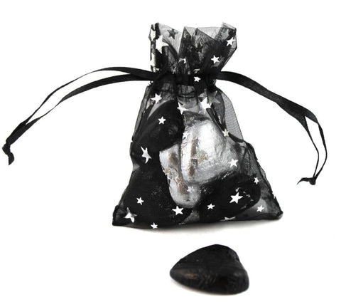 Hollywood Wedding Organza Favour Bags - pack of 12 Silver Metallic Star Print