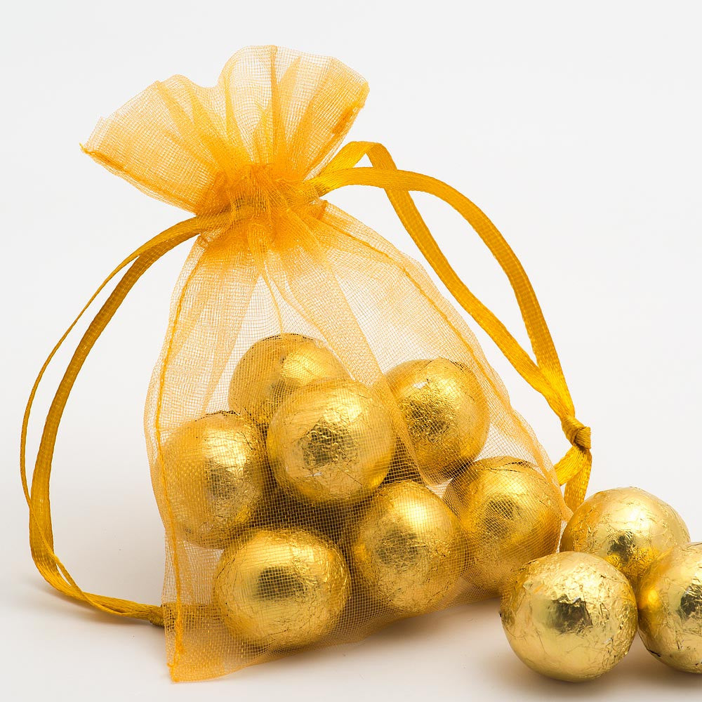 Organza Favour Bags - pack of 10 Gold