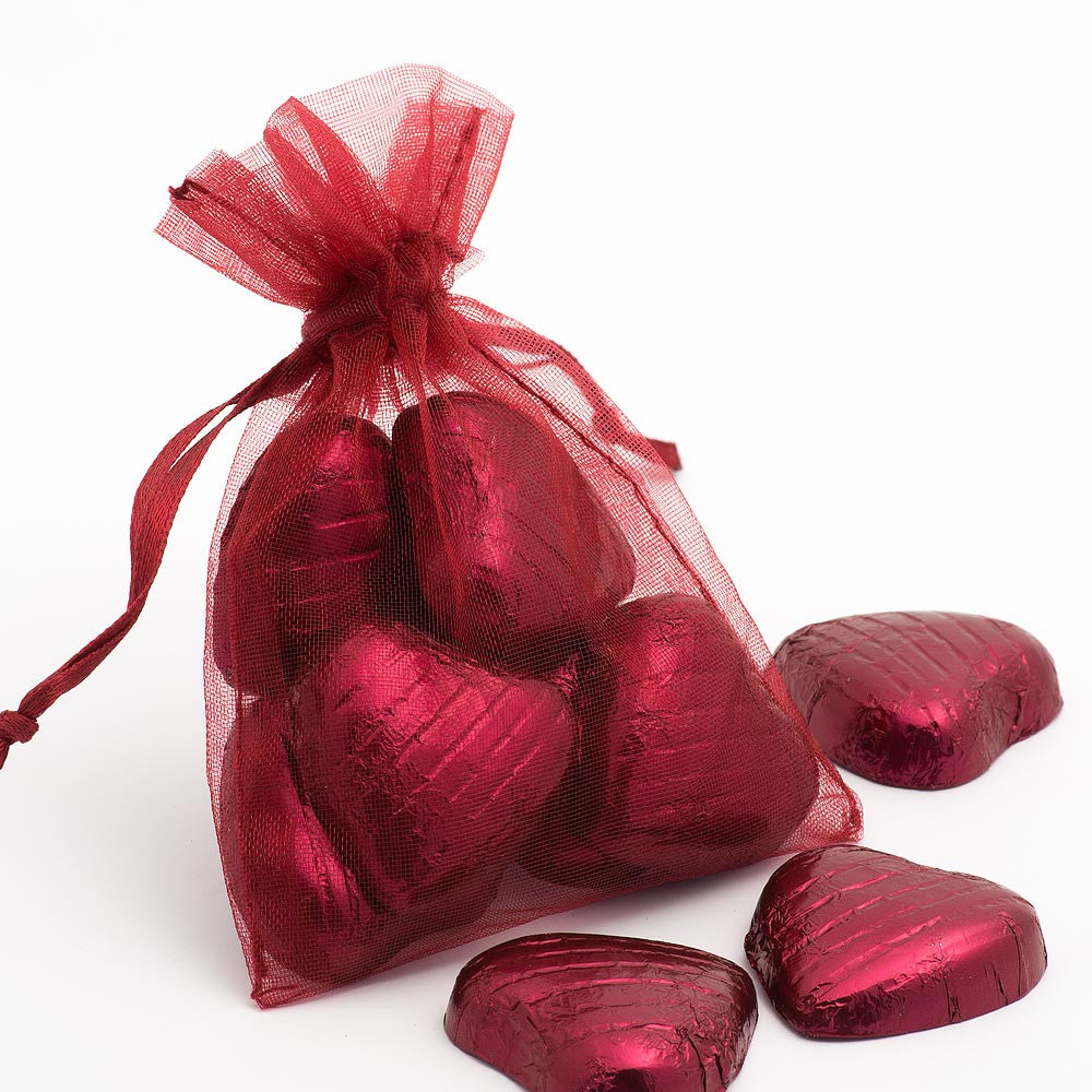 Organza Favour Bags - pack of 10 Burgundy
