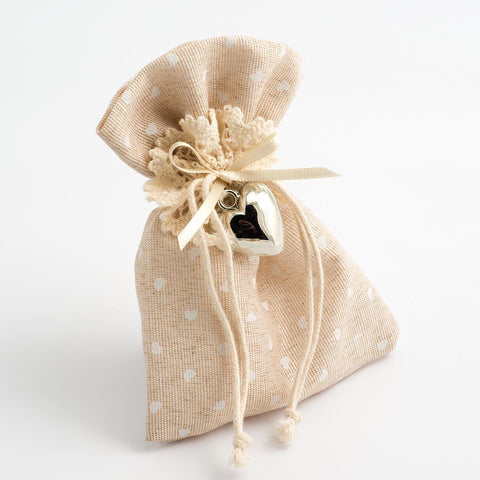Hessian Wedding Mini Hearts Favour Bag - pack of 10