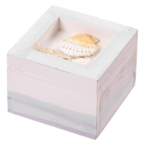 Wooden Trinket / Favour Box with Shells & Net Decoration