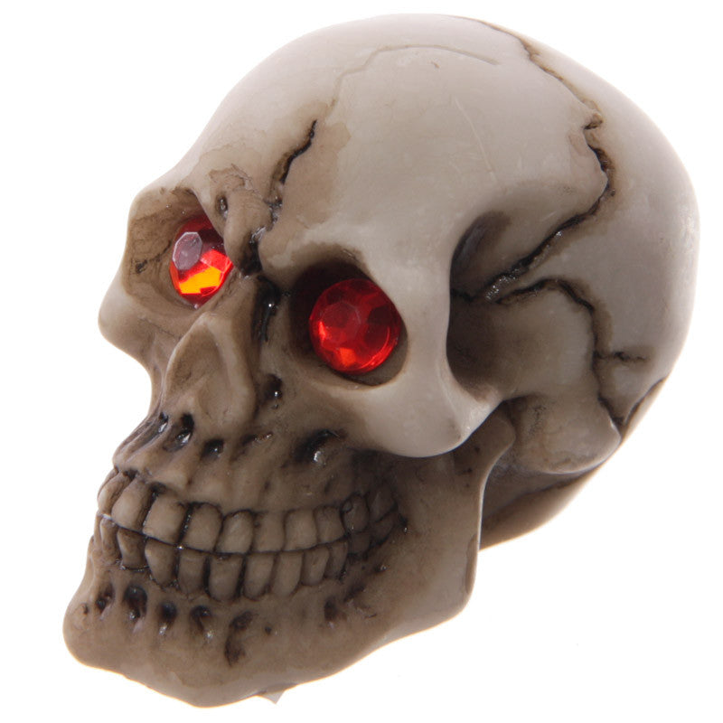 Gruesome Skull with Red Gem Eyes Table Decoration