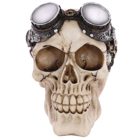 Steam Punk Style Skull Table Centrepiece with Goggles