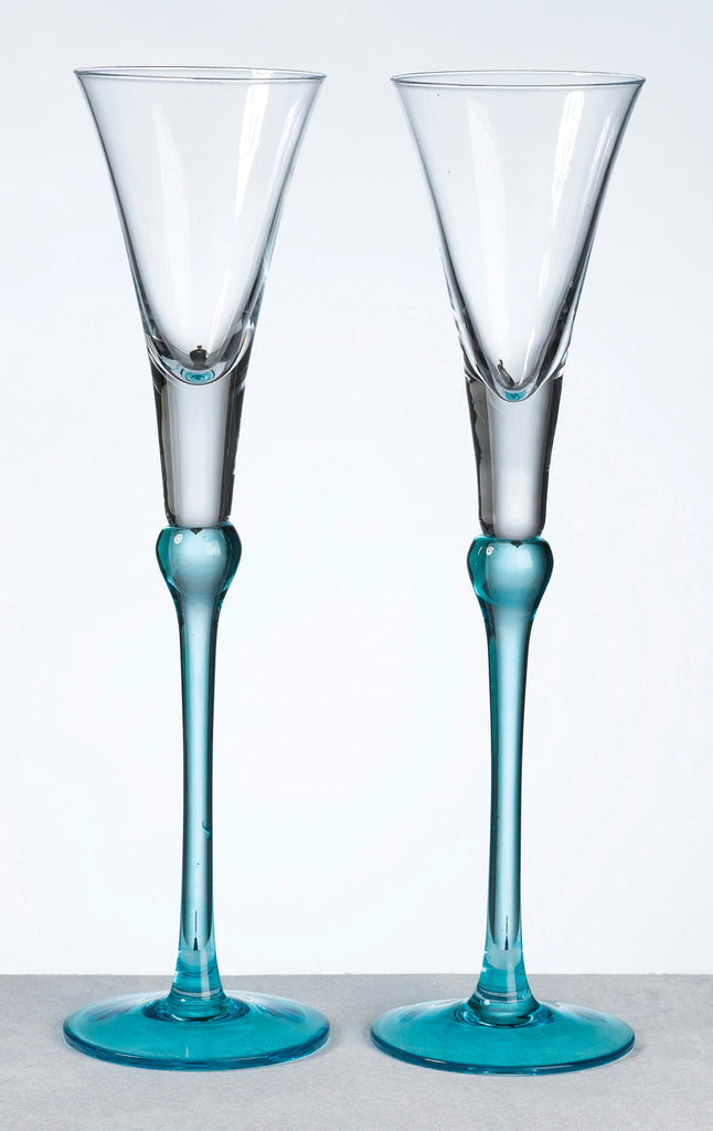 Set of Toasting Flutes-Aqua