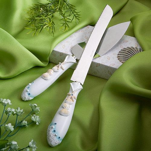 """Finishing Touches"" Collection Beach Themed Wedding Cake Knife and Server Set"