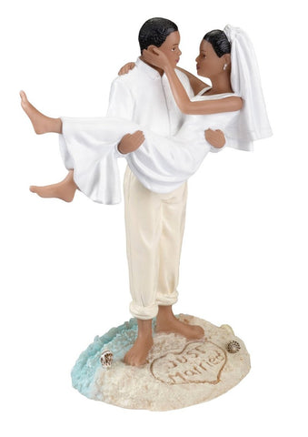African/American Beach Wedding Cake Topper