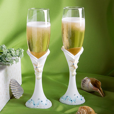 """Finishing Touches"" Collection Beach Themed Wedding Toasting Flutes"