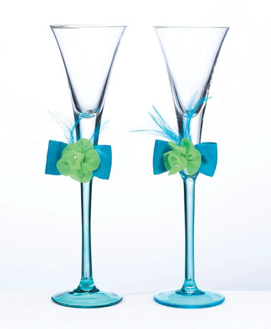 Blue / Green Wedding Toasting Flutes