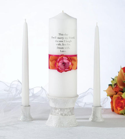 """Hot Pink / Orange"" Wedding Unity Candle Set"