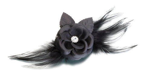 Flower & Feather Clip/Pin-Black