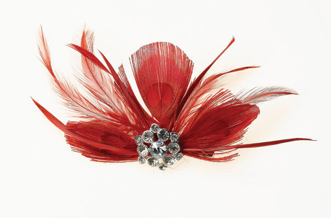 Feather Hair Clip – Red