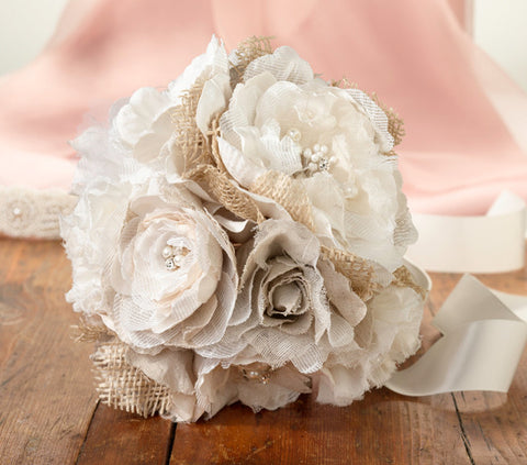 Burlap and Lace Wedding Flower Bouquet
