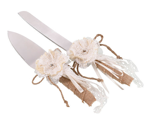 Burlap and Lace Wedding Cake Knife & Server
