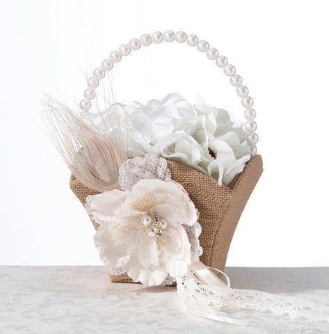 Burlap & Lace Wedding Flower Basket