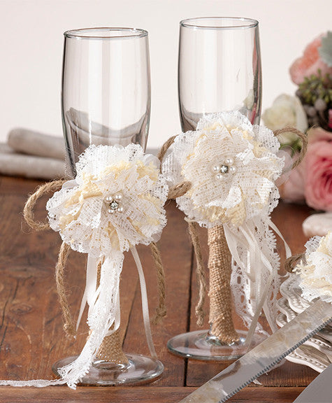 Burlap Wedding Toasting Glasses
