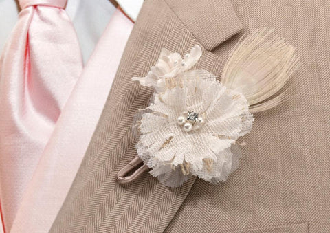 Burlap Wedding Boutonniere