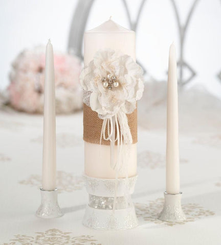 Burlap & Lace Wedding Unity Candle Set