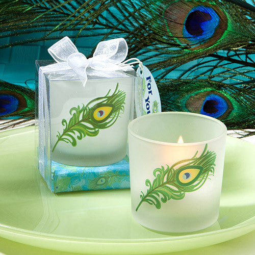 Peacock Wedding Feather Design Candle Holder