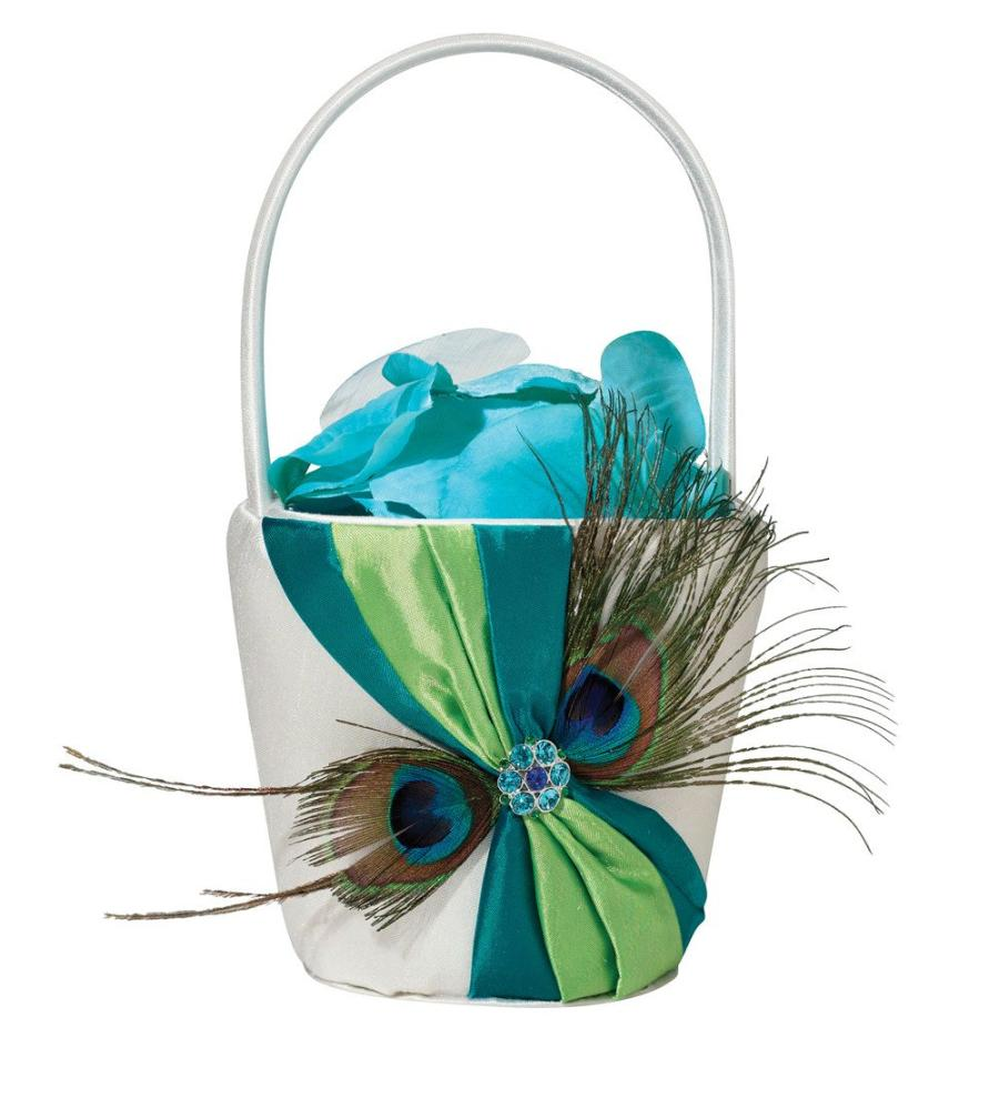 """Peacock"" Wedding Feather Flower Basket"