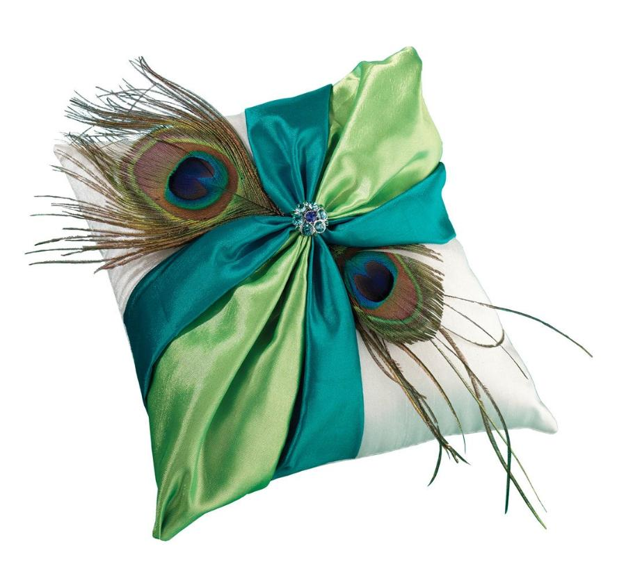 """Peacock"" Wedding Feather Ring Pillow"