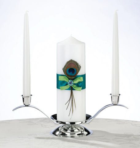 Peacock Wedding Unity Candle Set