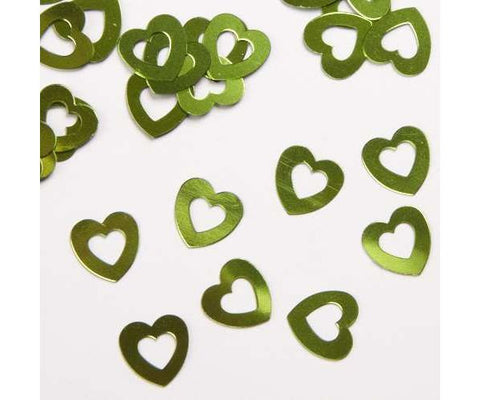 Apple Green Hollow Hearts Table Confetti