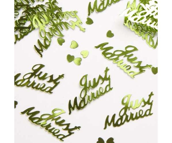 Just Married Apple Green Table Confetti