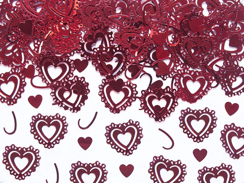 Red Vintage Hearts Table Confetti