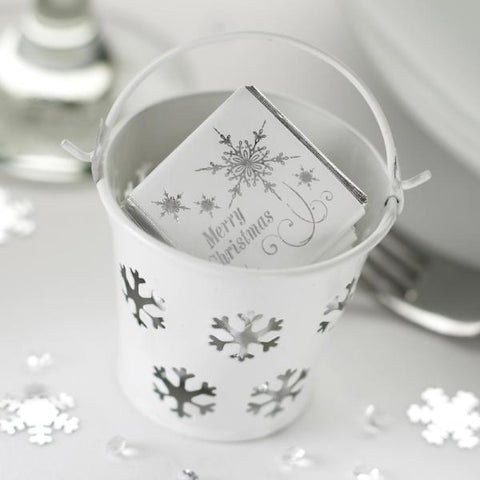 """Snowflake"" Winter Wedding Favour Tin Pails"