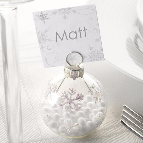 """Snowflake"" Winter Wedding Bauble Place Card Holders - pack of 6"