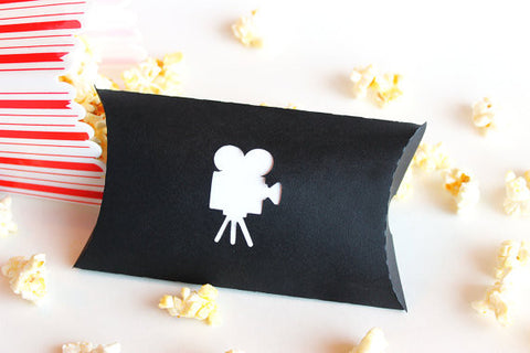 Movie Camera Pillow Favour Boxes x 10 white