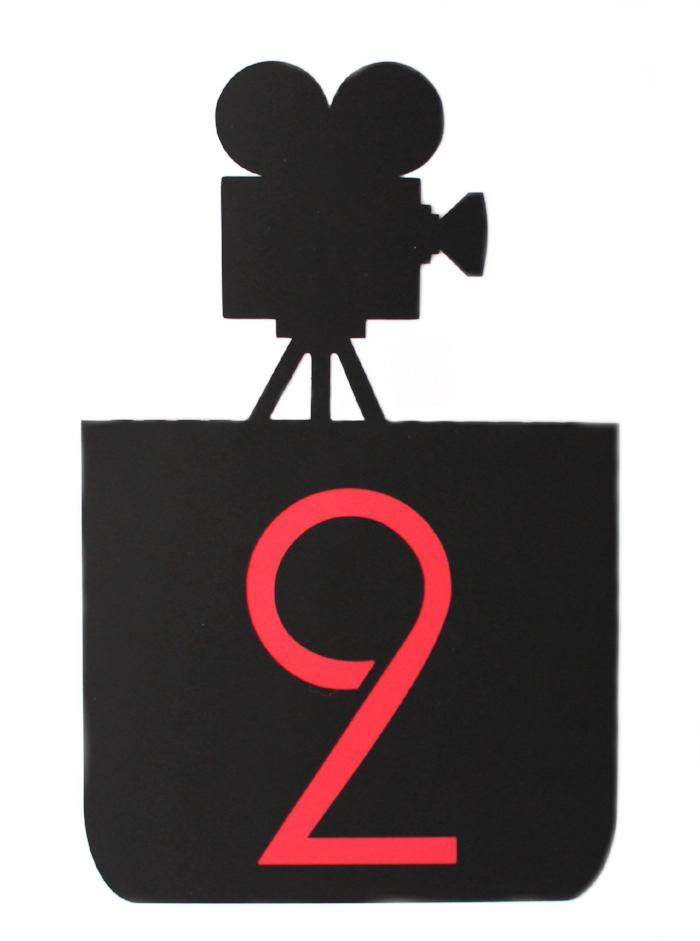 Movie Camera Table Numbers 1-12 red