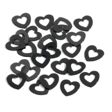 Black Hollow Hearts Wedding Table Confetti 14g