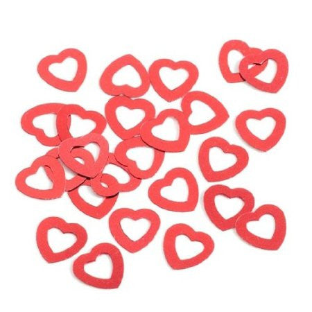 Red Hollow Hearts Wedding Table Confetti 14g