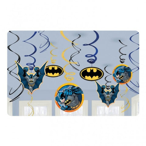 Batman Swirl Hanging Decorations - pack of 12