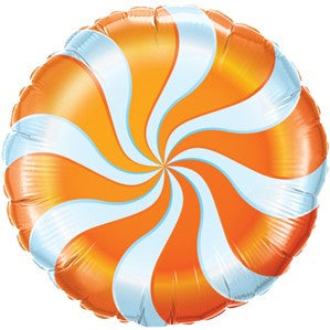 "Candy Swirl 18"" Foil Balloon - Orange"