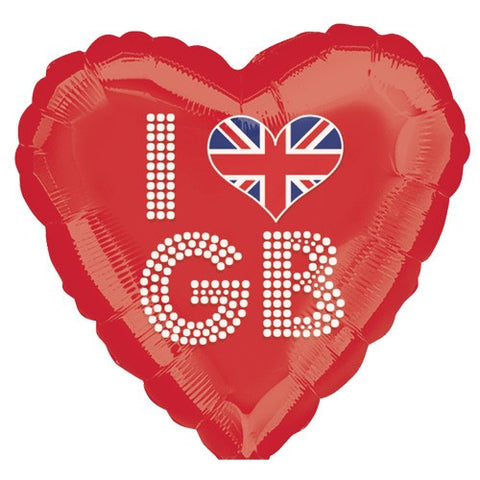 "18"" ""I Love GB"" Heart Shaped Foil Balloon"
