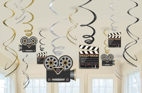 Hollywood Hanging Swirl Decorations 12pk